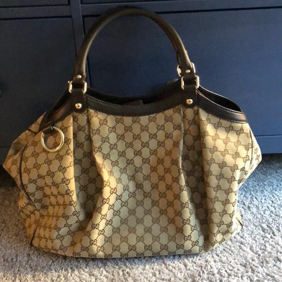 3503ba61a467c9 Gucci Bags | Sukey Large Original Gg Canvas Tote Cocoa | Poshmark
